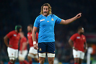 Quintin Geldenhays of Italy talking to his players. Rugby World Cup 2015 pool D match, France v Italy at Twickenham Stadium in London on Saturday 19th September 2015.<br /> pic by John Patrick Fletcher, Andrew Orchard sports photography.