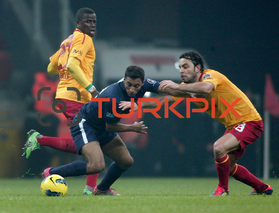 Galatasaray's Selcuk Inan (R) during their Turkish Super League soccer match Galatasaray between IBBSpor at the TT Arena at Seyrantepe in Istanbul Turkey on Tuesday, 03 January 2012. Photo by TURKPIX