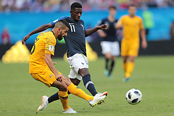 June 16, 2018 - Kazan, Kazan, France - defender Aziz Behich of Australia National team and forward Ousmane Dembele of France National team during a  Group C 2018 FIFA World Cup soccer match between France and Australia on June 16, 2018, at the Kazan Arena in Kazan, Russia. (Credit Image: © Anatolij Medved/NurPhoto via ZUMA Press)