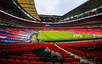 LONDON, ENGLAND - MARCH 31: General view on Wembley Stadium during the FIFA World Cup 2022 Qatar qualifying match between England and Poland on March 31, 2021 in London, United Kingdom. Sporting stadiums around the UK remain under strict restrictions due to the Coronavirus Pandemic as Government social distancing laws prohibit fans inside venues resulting in games being played behind closed doors. (Photo by Wlosek/PressFocus/MB Media)