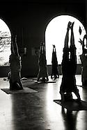 Yoga i den stora salen på Sivananda Ashram i Kerala, Indien