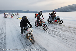 Baikal Mile Ice Speed Festival competitors parade on the 3-feet of ice that covers Lake Baikal every winter. Maksimiha, Siberia, Russia. Saturday, February 29, 2020. Photography ©2020 Michael Lichter.