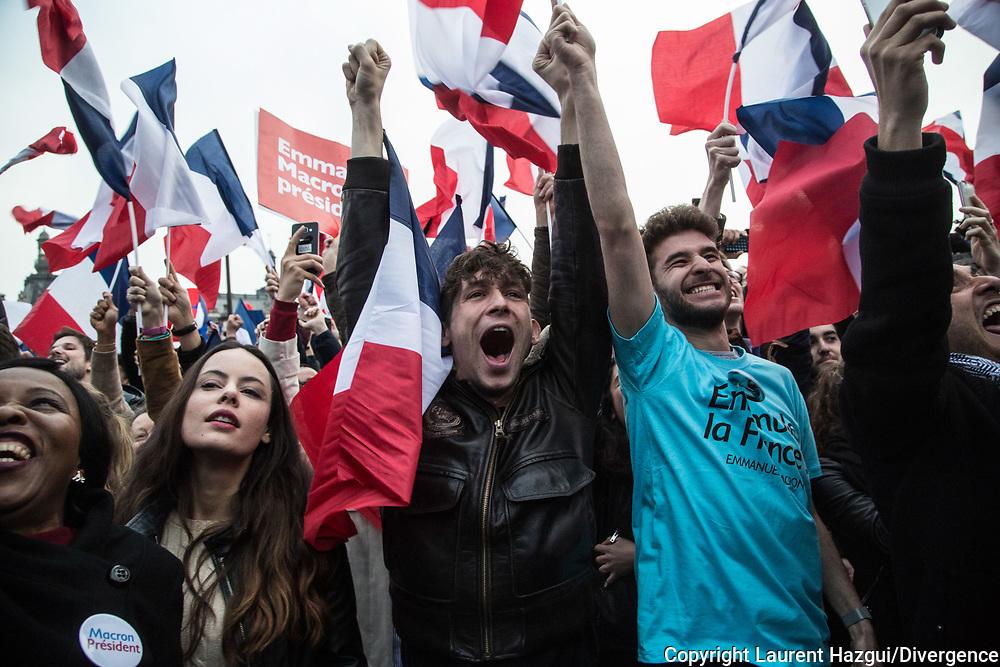07052017. Paris. Carrousel du Louvre. Victoire et discours. 2ème tour présidentielle 2017 : Soirée électorale d'Emmanuel Macron. Victoire et discours d'Emmanuel Macron.