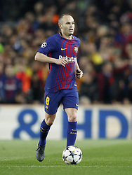 Andres Iniesta of FC Barcelona during the UEFA Champions League round of 16 match between FC Barcelona and Chelsea FC at the Camp Nou stadium on March 14, 2018 in Barcelona, Spain.