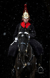 © Licensed to London News Pictures. 26/02/2018. London, UK. A member of the Household Cavalry Mounted Regiment on guard as snow falls on Whitehall. Severe cold, blizzards and heavy snow are expected as the 'Beast from the East' brings freezing Siberian air to the UK. Photo credit: Rob Pinney/LNP