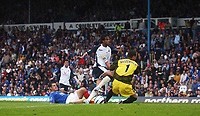 Photo: Alan Crowhurst.<br /> Portsmouth v Tottenham Hotspur. Barclaycard Premiership.<br /> 13/08/2005. Mido scores the opener for Spurs.