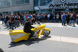 Zach Ness rode his Grandpa Arlen's 1995 Ness-Stalgia Chevy Bike for the Arlen Ness Memorial - Celebration of Life ride from the CrossWinds Church in Livermore to the Arlen Ness Motorcycle store in Dublin, CA, USA. Saturday, April 27, 2019. Photography ©2019 Michael Lichter.