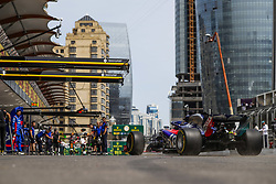 April 27, 2018 - Baku, Azerbaijan - HARTLEY Brendon (nzl), Scuderia Toro Rosso Honda STR13, pitlane action during the 2018 Formula One World Championship, Grand Prix of Europe in Azerbaijan from April 26 to 29 in Baku - Photo  /  Motorsports: World Championship; 2018; Grand Prix Azerbaijan, Grand Prix of Europe, Formula 1 2018 Azerbaijan Grand Prix, (Credit Image: © Hoch Zwei via ZUMA Wire)