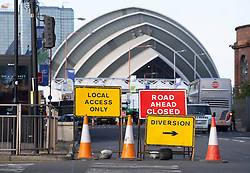 Glasgow, Scotland, UK. 21st October 2021. Final preparations underway at the site of the UN Climate Change Conference COP26 to be held in Glasgow from Oct 31st. Pic; Roads are closed around the COP26 site. Iain Masterton/Alamy Live News.