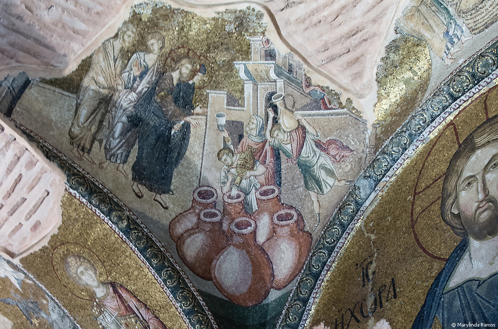 Mosaic depicting Christ turning water into wine in the Church of St. Savior at Chora.