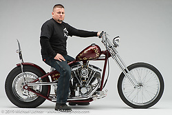 Just-N-81, built from a 1981 Shovelhead by Jeremy Valentine of Joker Cycle Works in. Photographed by Michael Lichter in Columbus, OH on 2/10/18. ©2018 Michael Lichter.