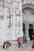 The facade of the Jeronimos Monastery Belem, Lisbon, Portugal