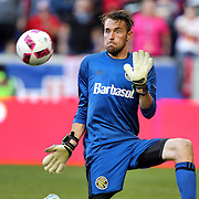 HARRISON, NEW JERSEY- OCTOBER 16: Goalkeeper   Brad Stuver #41 of Columbus Crew makes a save during the New York Red Bulls Vs Columbus Crew SC MLS regular season match at Red Bull Arena, on October 16, 2016 in Harrison, New Jersey. (Photo by Tim Clayton/Corbis via Getty Images)