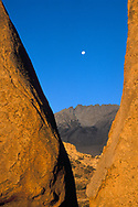 Moonset at sunrise over Basin Mountain, from the Buttermilk Region, near Bishop Eastern Sierra, CALIFORNIA