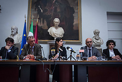 June 1, 2017 - Rome, Italy - A press conference of Mayor of Virginia Raggi for the presentation of ''Fabbrica di Roma''. The pact signed this morning the capitol and trade unions of Rome and Latium, CGIL, CISL, AND UIL, and which was named #FabbricaRoma establishes a table open to Government. The Lazio region and the productive forces that will meet on a weekly basis and work to identify resources, regulatory tools and strategic to promote a sustainable social and development of the Capital. (Credit Image: © Andrea Ronchini/Pacific Press via ZUMA Wire)