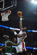 Ben Wallace of Cleveland shoots over Kevin Garnett..The Cleveland Cavaliers defeated the Boston Celtics 108-84 in Game 3 of the Eastern Conference Semi-Finals at Quicken Loans Arena in Cleveland.