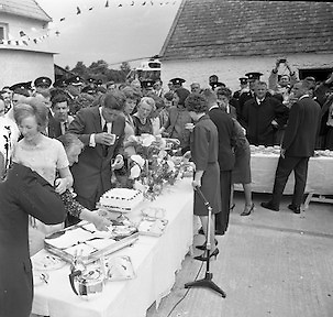 Kennedy in Ireland.  President Kennedy visits the homestead of his great-grandfather at Dunganstown, Co. Wexford and has tea surrounded by surrounded by cousins and relatives.26.06.1963