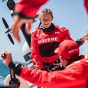 Leg 3, Cape Town to Melbourne, day 01, on board MAPFRE. Sophie Ciszek reacts to Blair Tuke during the start of Leg 03. Photo by Jen Edney/Volvo Ocean Race. 10 December, 2017.