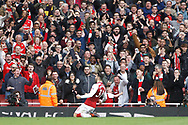 Sead Kolasinac of Arsenal celebrates with the Arsenal fans after scoring his team's first goal, Premier league match, Arsenal v Swansea city at the Emirates Stadium in London on Saturday 28th October 2017.<br /> pic by Steffan Bowen, Andrew Orchard sports photography.