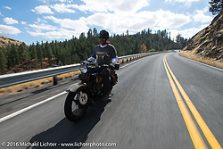"Robert Gustavsson or ""Big Swede"" as he is fondly known, riding his 1931 Harley-Davidson VL during Stage 14 - (284 miles) of the Motorcycle Cannonball Cross-Country Endurance Run, which on this day ran from Meridian to Lewiston, Idaho, USA. Friday, September 19, 2014.  Photography ©2014 Michael Lichter."