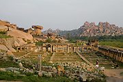 Late afternoon high angle wide view landscape shot of Hampi, Karnataka, India. .
