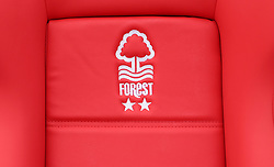 General view of Nottingham Forest branding on seaating in the dugout