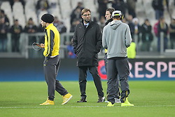 24.02.2015, Veltins Arena, Turin, ITA, UEFA CL, Juventus Turin vs Borussia Dortmund, Achtelfinale, Hinspiel, im Bild l-r: Ciro Immobilie #9 (Borussia Dortmund), Chef-Trainer Juergen Klopp (Borussia Dortmund), Roman Weidenfeller #1 (Borussia Dortmund) und Pierre-Emerick Aubameyang #17 (Borussia Dortmund) auf dem Rasen gut gelaunt // during the UEFA Champions League Round of 16, 1st Leg match between between Juventus Turin and Borussia Dortmund at the Veltins Arena in Turin, Italy on 2015/02/24. EXPA Pictures © 2015, PhotoCredit: EXPA/ Eibner-Pressefoto/ Kolbert<br /> <br /> *****ATTENTION - OUT of GER*****