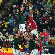 Johann Muller, South AFrica, (left) challenges for a line out with Luke Charteris, Wales, during the Wales V South Africa, Pool D match during the Rugby World Cup in Wellington, New Zealand,. 11th September 2011. Photo Tim Clayton