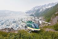 Pathfinder aviation's Bell 206 Jet Ranger doing remote operations near a glacier in Alaska.