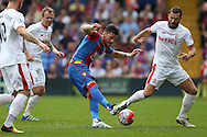 Joel Ward of Crystal Palace taking a shot at goal. Barclays Premier League match, Crystal Palace v Stoke City at Selhurst Park in London on Saturday 7th May 2016. pic by John Patrick Fletcher, Andrew Orchard sports photography.