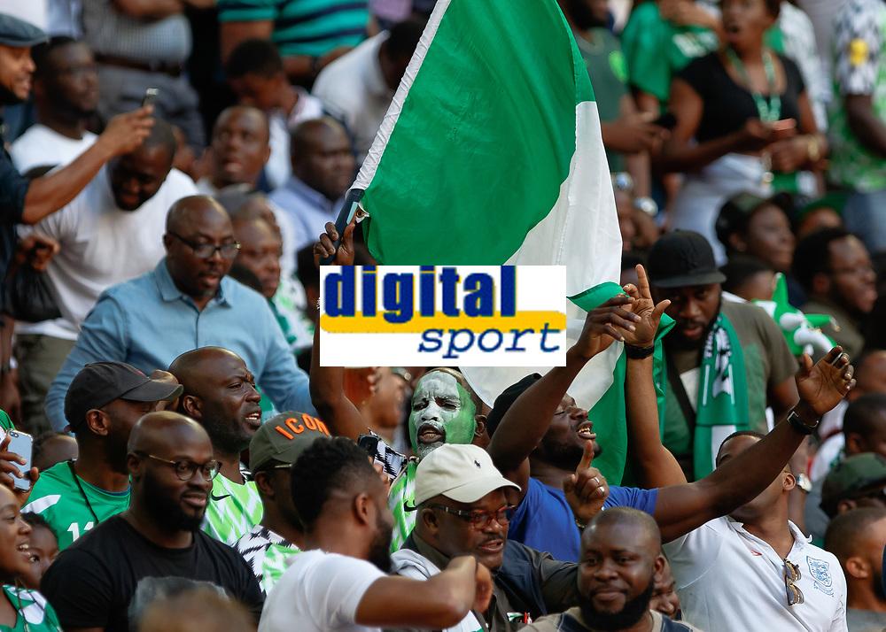 Football - 2018 International Friendly (pre-World Cup warm-up) - England vs. Nigeria<br /> <br /> Nigeria fans celebrate after Alex Iwobi (Nigeria) scores at Wembley Stadium.<br /> <br /> COLORSPORT/DANIEL BEARHAM