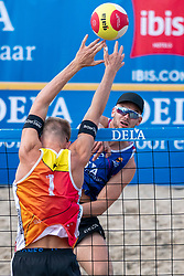 Ruben Penninga in action. The Final Day of the DELA NK Beach volleyball for men and women will be played in The Hague Beach Stadium on the beach of Scheveningen on 23 July 2020 in Zaandam.
