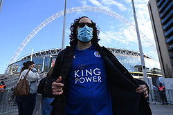 © Licensed to London News Pictures. 18/04/2021. London, UK. Up to 4,000 football fans arrive at Wembley Stadium to attend the FA Cup Semi-Finals between Leicester City and Southampton. All attendees would have had a negative Covid-19 test to attend the event as part of the Events Research Programme (ERP) pilot scheme informing the government's decision on step 4 of its roadmap out of lockdown. Photo credit: Ray Tang/LNP
