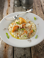 Wiild organic chanterelle or girolle Mushrooms (Cantharellus cibarius) or sauteed in butter and herbs risotto