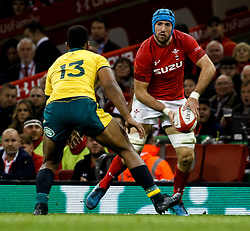 Justin Tipuric of Wales under pressure from Samu Kerevi of Australia<br /> <br /> Photographer Simon King/Replay Images<br /> <br /> Under Armour Series - Wales v Australia - Saturday 10th November 2018 - Principality Stadium - Cardiff<br /> <br /> World Copyright © Replay Images . All rights reserved. info@replayimages.co.uk - http://replayimages.co.uk