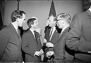 18/09/1967<br /> 09/18/1967<br /> 18 September 1967<br /> Mr Paul A. Fabry, Managing Director, International House, New Orleans, Reception for New Orleans Delegation at the United States Embassy, Dublin. Image shows: Wesly Boyd (i.T.); Jim F. Michie (W.D.S.U. TV); Fred C? and Tom Bannon, U.S. Embassy.
