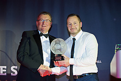 CARDIFF, WALES - Tuesday, November 8, 2016: Chas Rowlands, Chairman of the FAW Disciplinary Panel presents the FAW Fair Play Award to Ely Rangers (Welsh League Division Three) during the FAW Awards Dinner at the Vale Resort. (Pic by David Rawcliffe/Propaganda)