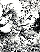 The North Wind and the Sun Aesop's fables Published in 1912 in London by Heinemann and in  New York by Page Doubleday Illustrated by Arthur Rackham,