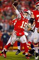 Kansas City Chiefs quarterback Patrick Mahomes (15) looks to pass during an NFL divisional football playoff game in Kansas City, Mo., Saturday, Jan. 12, 2019. <br /> ( Tom DiPace )