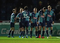 Wycombe Wanderers' Nick Freeman (2nd right) gets a hug from Jason McCarthy after he scores his side's first goal in the 5th minute<br /> <br /> Photographer Lee Parker/CameraSport<br /> <br /> The EFL Sky Bet League One - Wycombe Wanderers v Blackpool - Tuesday 28th January 2020 - Adams Park - Wycombe<br /> <br /> World Copyright © 2020 CameraSport. All rights reserved. 43 Linden Ave. Countesthorpe. Leicester. England. LE8 5PG - Tel: +44 (0) 116 277 4147 - admin@camerasport.com - www.camerasport.com