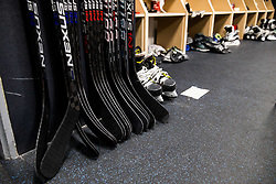 Sticks in Dressing room of Team Slovenia at the 2017 IIHF Men's World Championship, on May 11, 2017 in AccorHotels Arena in Paris, France. Photo by Vid Ponikvar / Sportida