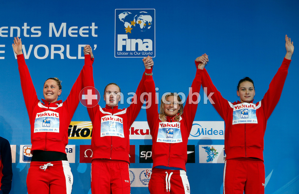 (L-R) Jeanette OTTESEN GRAY, Kelly Terry Riber RASMUSSEN, Pernille BLUME and Mie Ostergaard NIELSEN celebrate on the podium during the award ceremony after finishing third in the women's 4x100m Freestyle Relay Final during the 11th Fina World Short Course Swimming Championships held at the Sinan Erdem Arena in Istanbul, Turkey, Saturday, Dec. 15, 2012. (Photo by Patrick B. Kraemer / MAGICPBK)