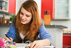 Young woman studying at home, Munich, Bavaria, Germany