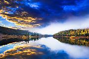 Sunrise over Salmon Lake, Montana.