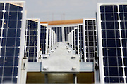 Solar panels move during the day using PowerTracker system, following sun's movement.