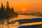 Sunrise on the Deazadeash River. Haines Road. <br />Haines Junction<br />Yukon<br />Canada