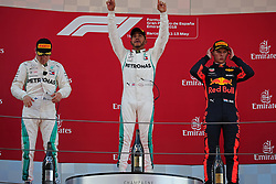 May 13, 2018 - Barcelona, Catalonia, Spain - Lewis Hamilton and Valtteri Bottas, team Mercedes, and Max Verstappen, team Red Bull, in the podium of the GP Spain F1, on 13th May 2018 in Barcelona, Spain. (Credit Image: © Joan Valls/NurPhoto via ZUMA Press)