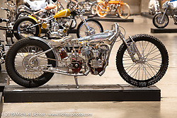 """Jon MacDowell's """"Flying Squirrel"""" all stainless and aluminum custom 1941 Indian model 741 at the Handbuilt Show. Austin, TX. USA. Friday April 20, 2018. Photography ©2018 Michael Lichter."""