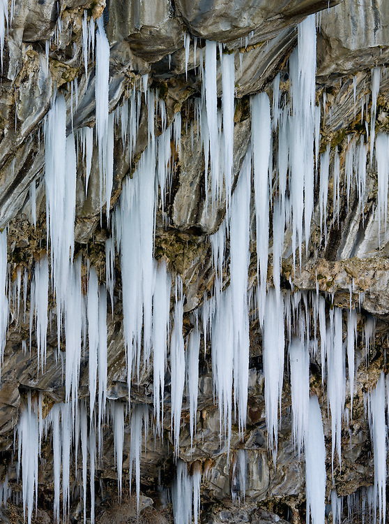 Limited Edition of 17<br /> Icicles form on the south wall of the Snake River Canyon in Twin Falls, Idaho.