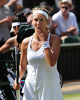 Tennis - 2017 Wimbledon Championships - Week One, Friday [Day Five]<br /> <br /> Womens Singles Third Round match<br /> Heather Watson (GBR) v Victoria Azarenka (BLR) <br /> <br /> Victoria Azarenka celebrates her win on Centre court <br /> <br /> COLORSPORT/ANDREW COWIE